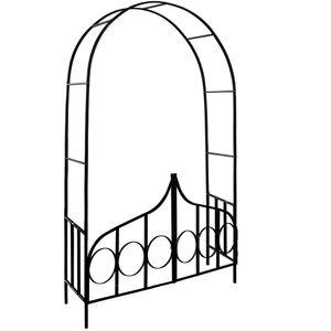 Rosenbogen mit Tür | Tor verriegelbar | Rankhilfe 240x140x40 cm | Spalier aus Metall | Rosenhilfe Torbogen Rankgitter