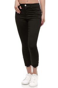 Damen Denim Jeans Stretch Leggings Hose Skinny Röhrenjeans Spitze, Farben:Schwarz, Größe:40