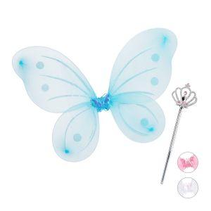 relaxdays 1 x Feenflügel Zauberstab Feenset blau Fee Kostüm Elfenflügel Elfen Kostüm Kind