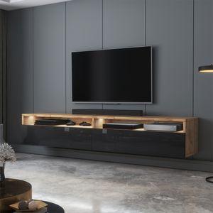 Selsey TV-Schrank  REDNAW - modernes TV-Board in Wotan Eiche Matt / Schwarz Hochglanz mit LED, stehend / hängend, 180 cm breit