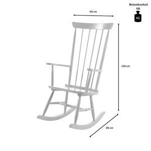 Schaukelstuhl Selin B: 69 cm H: 124 cm T: 85 cm im Landhaus-Design aus Rubberwood massiv Kinderzimmer Stuhl Jugendzimmer Wohnzimmer