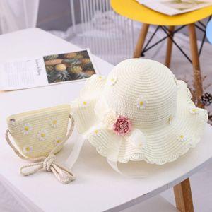 Kinder Strohhut und Kleine Tasche Set Mädchen Sommer Sonnenhut mit Blumendekoration für den Urlaub Reise Outdoor-Aktivitäten-weiß
