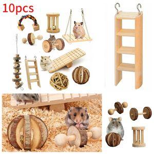 10 Teiliges Ratte Guinea Pig Chinchilla Hamster Kauen Spielzeug Hanteln Ball Kleine Haustiere Spielen Spielzeug Übung Zubehör Holz Stil