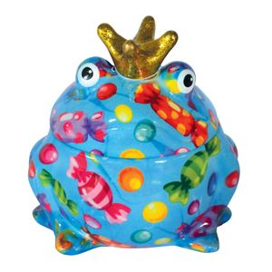 Keksdose Frosch blau mit Bonbons Froschkönig Pomme Pidou Vorratsdose Bonbon Dose 15x16 cm Keramik