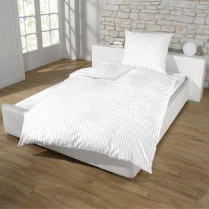 Dreamhome Hotel Damast Streifen Bettwäsche 135x200 + 80x80 Kissenbezug Bettbezug für Bettdecke Steppdecke mit Baumwolle, Farbe:WEISS, Größe:HOTELVERSCHLUSS
