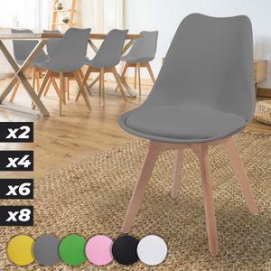 MIADOMODO® Esszimmerstühle 2er 4er 6er 8er Set - Skandinavischer Stil, gepolstert mit Sitzkissen, aus Kunststoff & Massivholz, Farbwahl - Vintage, Retro, Küchenstuhl, Stühle (6er, Grau)
