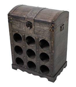 Raburg Weinregal im Kolonialstil in SCHIEFER - Deko-Schrank mit Schatztruhe, Platz für 9 Weinflaschen - 52,5 cm hoch, 40 cm breit, 26 cm tief
