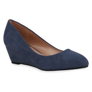 Mytrendshoe Damen Pumps Keilpumps Spitze Klassische Keilabsatz Schuhe 835042, Farbe: Blau, Größe: 39