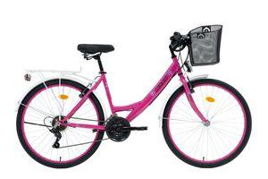 26 ZOLL Kinder MÄDCHEN City FAHRRAD Mädchenfahrrad CITYFAHRRAD DAMENFAHRRAD CITYRAD Mädchenrad Rad Bike STVO Beleuchtung STVO 21 GANG 5100 Pink