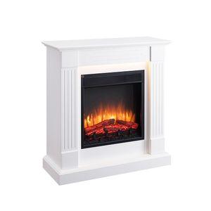RICHEN Elektrokamin Ladina Elektrischer Kamin (2000W, LED-Beleuchtung, 3-D Flammeneffekt, Fernbedienung) weiß