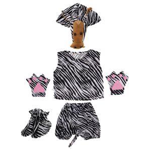 Kinder Tierkostüm Set Zebra Hut Top Shorts Handschuhe Schuhe Party Schwarz-Weiss Komplettes Outfit