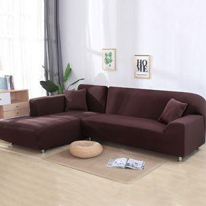 2 Stück Normale 3-Sitzer-Sofabezüge Stretch-Schonbezüge für Schnittsofa Geteiltes L-förmig Sofa,Braun