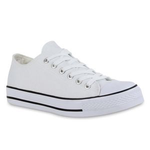 Mytrendshoe Damen Sneakers Sportschuhe 97316 Freizeit Stoffschuhe, Farbe: Weiß, Größe: 39