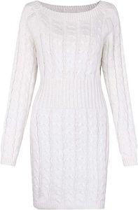 Damen Schulterfrei PulloverKleid Strickkleid Sweater Oberteile Sweatshirt Tops Bluse Lang S