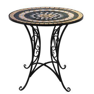 Mosaik Gartentisch Ø60cm Gestell Eisen / Platte Keramik