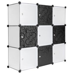 tectake Steckregal 9 Boxen mit Türen - weiß
