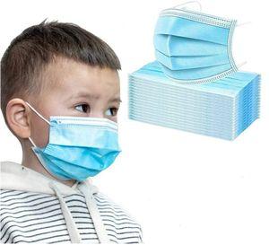 500 × 3-lagige Einwegmaske Aus Schmelzgeblasenem Stoff Für Kinder Ohrhaken Mit Hoher Elastizität  Hohe Filtration Und Atmungsaktivität - Blau