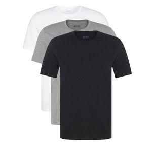 HUGO BOSS 3 Pack T-Shirt Rundhals Baumwolle Classic Crew Neck, Einfarbig / Farbe: Mehrfarbig (Schwarz/Grau/Weiß) | Größe: 6 (Large)