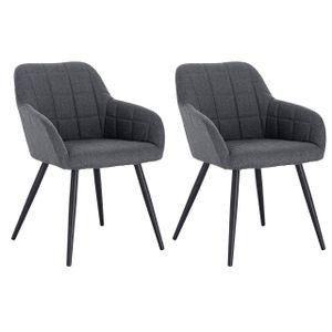 WOLTU 2er-Set Esszimmerstühle Küchenstuhl Wohnzimmerstuhl Polsterstuhl mit Armlehne, Sitzfläche aus Leinen, Metallbeine, Dunkelgrau
