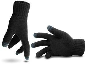 Touchscreen-Strickhandschuhe, für Smartphone-Bedienung geeignet - Schwarz - S/M