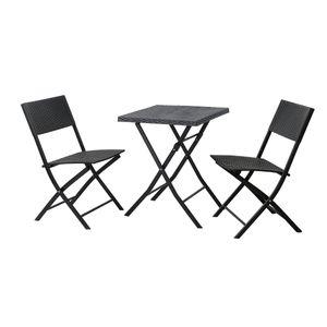 SVITA Poly-Rattan Bistro-Set Balkon-Set Klappmöbel Stuhl Tisch Garten-Möbel Schwarz
