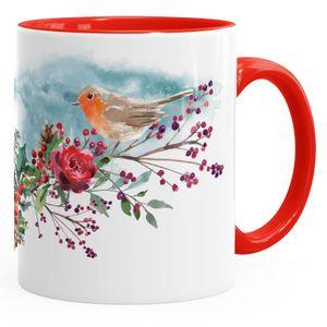Kaffeetasse Vogel Rotkehlchen Blumen Misteln Watercolor Bird Weihnachten Christmas Weihnachtstase Weihnachtsbecher Autiga® rot unisize