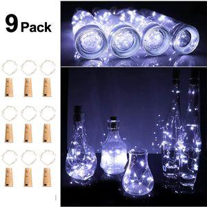 9 Stück Flaschenlicht LED Flaschen-Licht Lichterkette flaschenlichterkette korken LED Nacht Licht  (Kaltes Weiss)