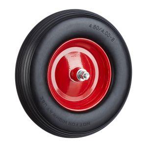 relaxdays 1 x Schubkarrenrad schwarz-rot PU Vollgummirad Stahlfelge Ersatzrad mit Achse