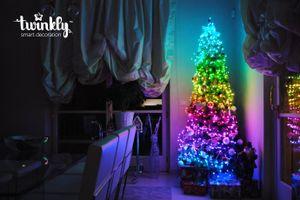 Twinkly Strings Lichterkette 250 LED warmweiss und Multicolor Outdoor 20m schwarz