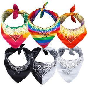6er Paisley Bandana Set Tie Dye Regenbogen Schwarz Weiß