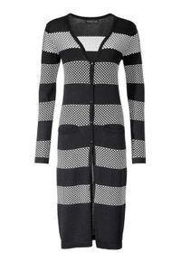 Patrizia Dini Damen Designer-Longstrickjacke, schwarz-ecru, Größe:46