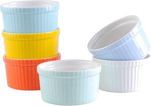 LOVECASA Förmchen Porzellan, 6 teilig Muffins Förmchen Set Schälchen für Soufflé, Creme Brulee, Fondants, Dessert und Obst