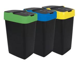 Abfalleimer mit Schwingdeckel - 3er Set - 35 Liter - jede Farbe 1x