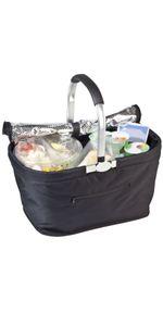 Einkaufskorb Kühlkorb mit Deckel Thermo Kühltasche Picknickkorb mit Kühlfach Isoliertasche mit Aluminiumgriff 30 Liter Volumen