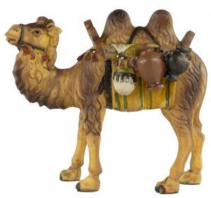 Handbemalte Krippenfigur Kamel mit Gepäck, ca. 11,5 cm, T 001-16