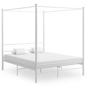 NEW Himmelbett-Gestell Kinderbett Metallbett Weiß Metall 160x200 cm  #DE5787
