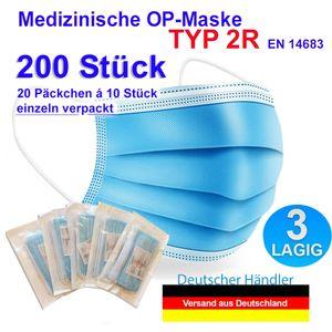 200 Stück TYP 2R Medizinische Masken 3 lagig Mundschutz EN14683 OP Maske Atemschutzmaske