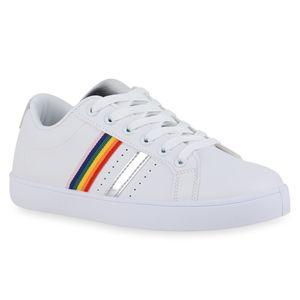 Mytrendshoe Damen Sneaker Low Cut-Outs Sportliche Schnürer Bequeme Schuhe 834775, Farbe: Weiß Silber, Größe: 39