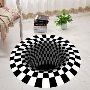 3D Print Plaid Vortex Illusion Teppich Bodenteppich Für Wohnzimmer Nachbildung 160cm Größe 160cm