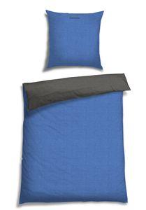 Schiesser Wendebettwäsche Doubleface Blau-Anthrazit, 100% Baumwolle, Größe: 135 x 200 cm + 80 x 80 cm