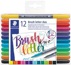 STAEDTLER Doppel-Fasermaler brush letter duo 12er Etui