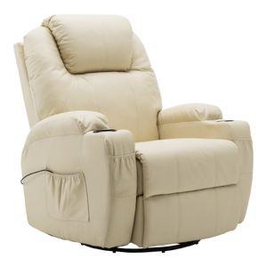 MCombo Massagesessel Fernsehsessel Relaxsessel + Heizung mit Dreh+Schaukel manuell verstellbar 7020CW