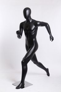 Abstrakte laufend mann PM-O-8 Männlich sportlich schick mode männliche Schaufensterpuppe schwarz matt