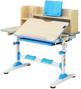 Natsen Kinderschreibtisch Schülerschreibtisch mit Bücherregal, Schublade und Lesenrahmen, höhenverstellbar neigbar, Schreibtisch für Kinder Mädchen Junge (Blau)