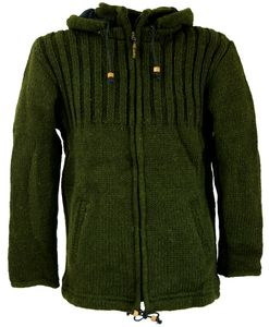 Strickjacke Wolljacke Nepaljacke Olive - Modell 2, Herren, Grün, Wolle, Größe: XL