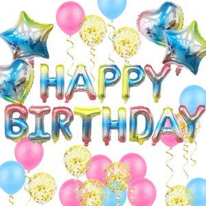 Oblique Unique Geburtstag Party Deko Set - Happy Birthday + Herzen Folien Luftballons Konfetti Ballons uvm. bunt