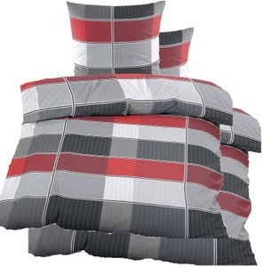 4-tlg. Seersucker Bettwäsche 2x (135x200 +80x80cm), rot grau kariert, bügelfrei, Microfaser