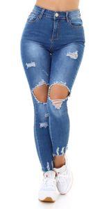 Used Look Skinny High Waist Jeans mit XL Löcher, Farbe: Blau, Größe: 34