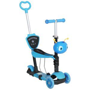 HOMCOM Kinderroller Scooter Tretroller Cityroller Kinder Roller Kickboard Lenker Teleskoprohr höhenverstellbar Blau 62 x 25 x 72,5 cm