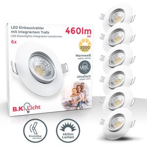 6er Set LED Einbaustrahler Warmweiß Schwenkbar 6x 5Watt 6x 460 Lumen Ultra Flach 30mm IP23 Deckenspots LED Spots Weiß B.K.Licht
